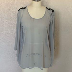 Sheer embellished tunic top